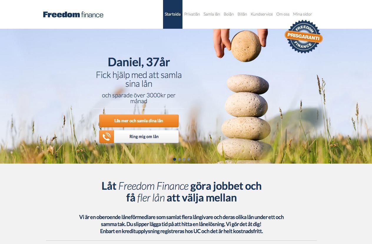 Jämför lån via låneförmedlaren Freedom Finance