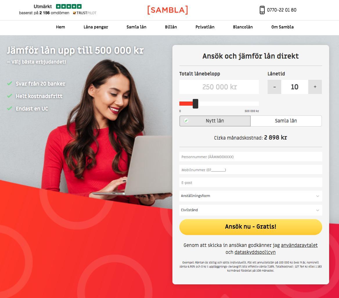 Jämför lån via låneförmedlaren Sambla